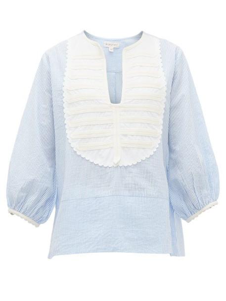 Wiggy Kit - Contrast Panel Striped Cotton Seersucker Shirt - Womens - Blue Multi