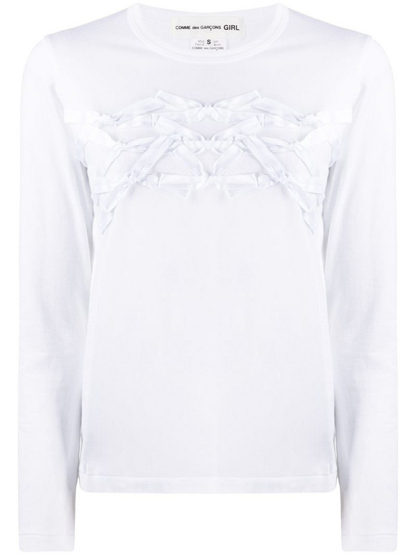 Comme Des Garçons Girl bow front top in white