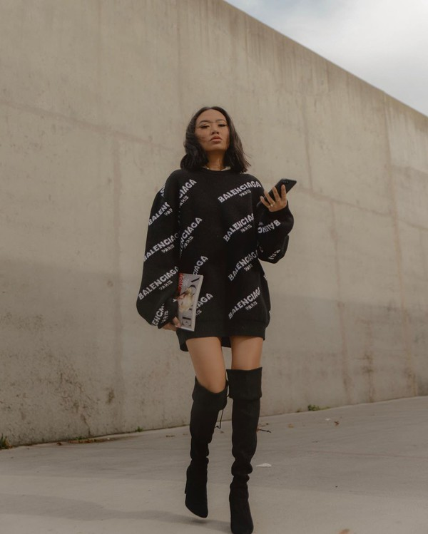 sweater black sweater oversized sweater balenciaga over the knee boots black boots heel boots