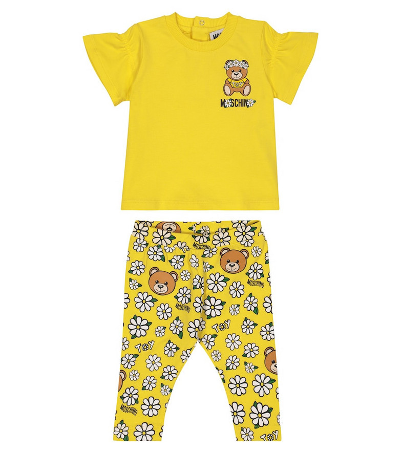 Moschino Kids Baby stretch-cotton T-shirt and leggings set in yellow