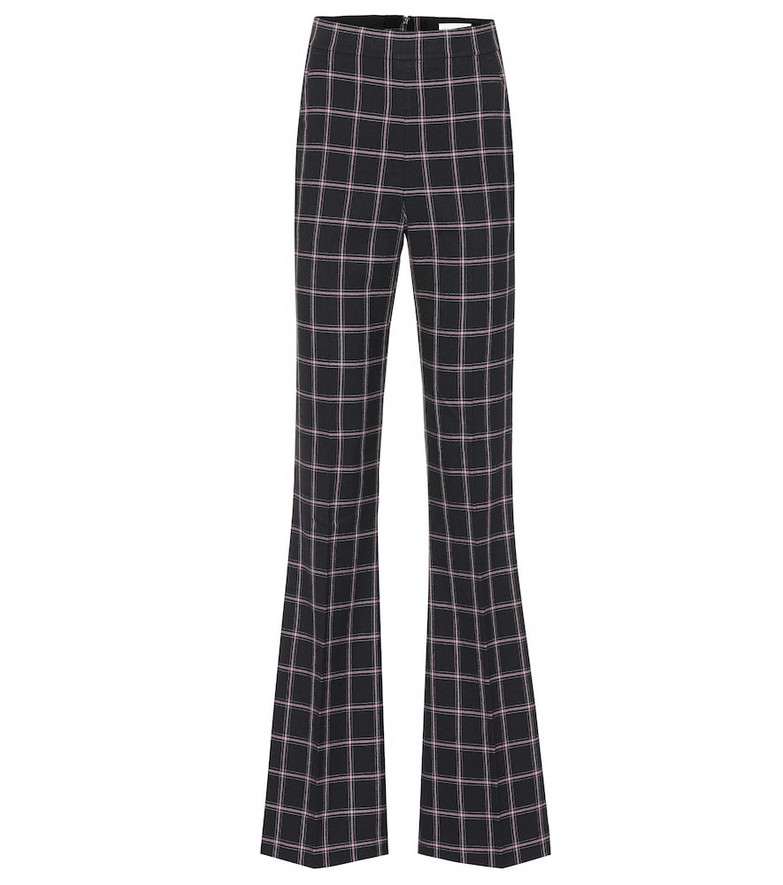 Rebecca Vallance Peta high-rise flared checked pants in black