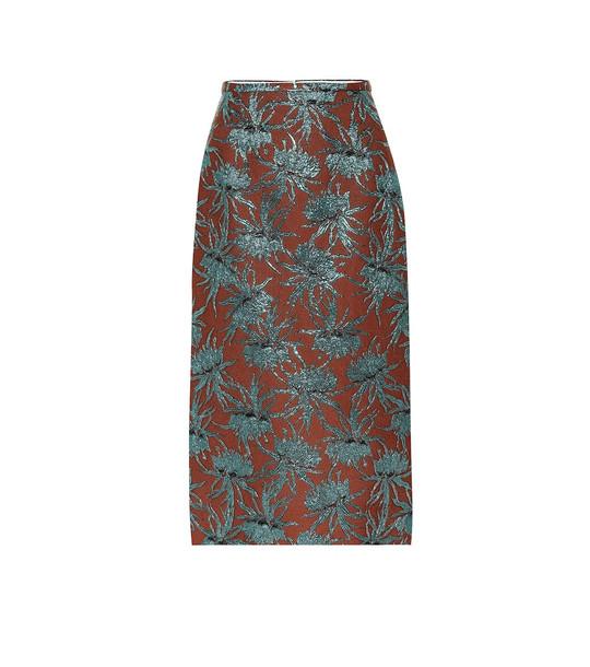Rochas Oncidium floral pencil skirt in brown
