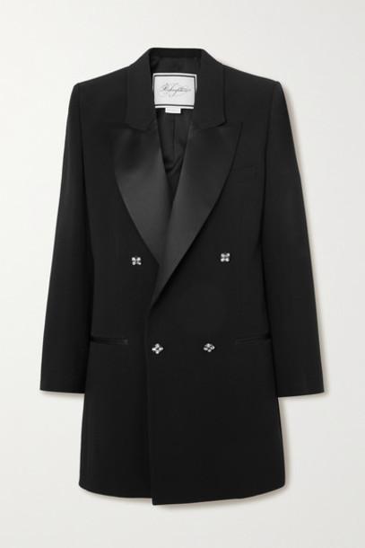 Redemption - Satin-trimmed Crystal-embellished Crepe Blazer - Black