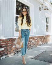 bag,handbag,pvc,transparent  bag,pumps,high waisted jeans,yellow sweater