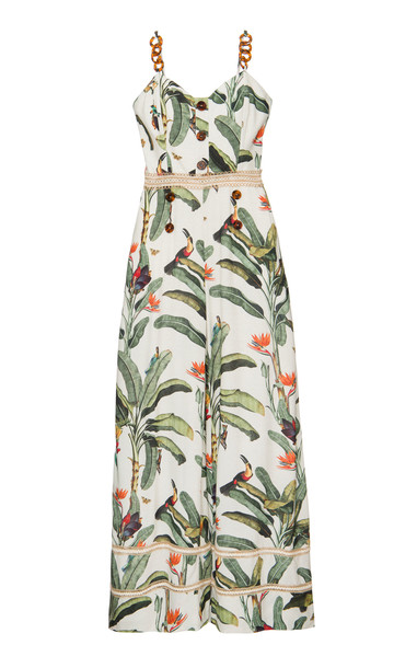 PatBO Tropical Print Jumpsuit in white