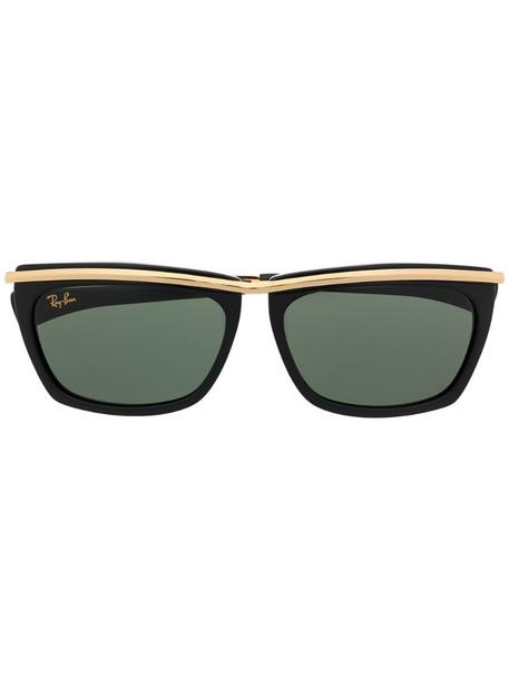 Ray-Ban Olympiam II rectangular frame sunglasses in black
