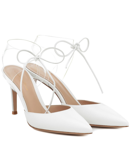 Gianvito Rossi PVC and leather pumps in white