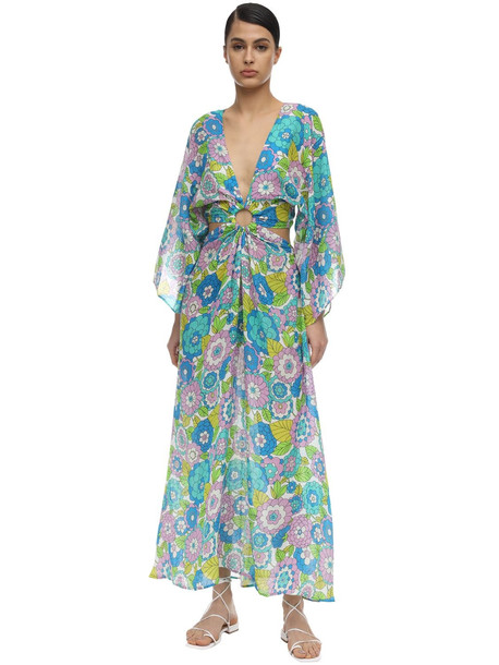 DODO BAR OR Shelly Printed Cotton Maxi Dress in blue / green / pink