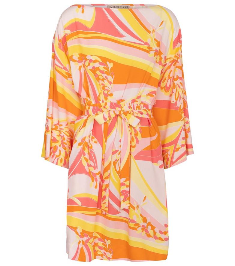 Emilio Pucci Beach Lilly printed boatneck minidress in orange