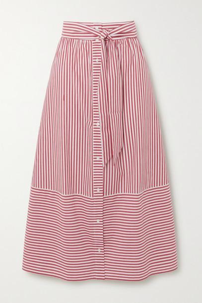 Maje - Striped Cotton-poplin Midi Skirt - Red