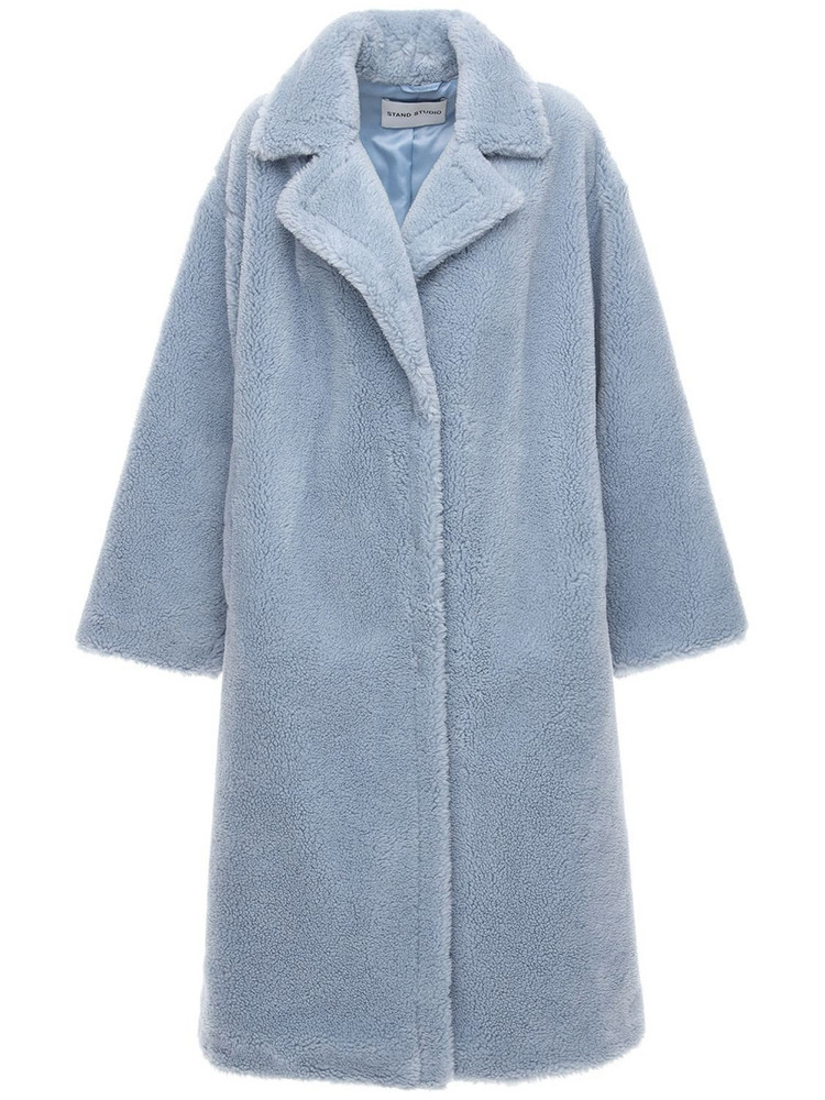 STAND Maria Faux Teddy Long Coat in blue