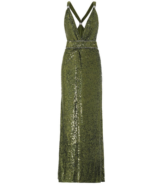 Dundas Sequined gown in green