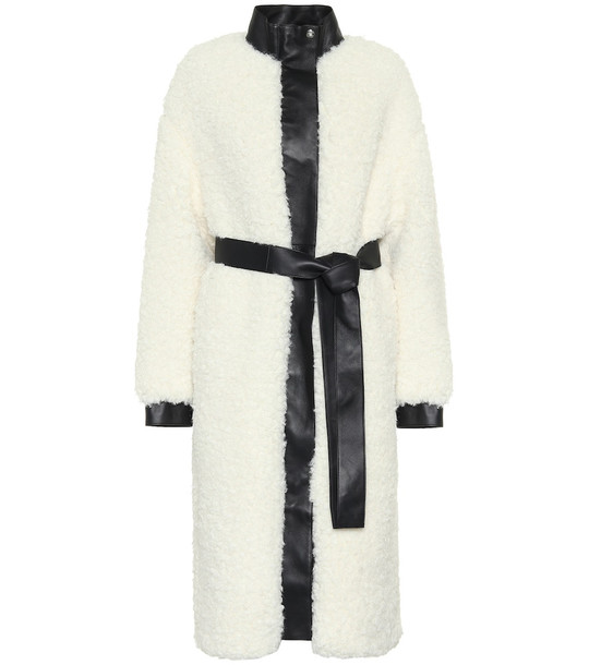 Acne Studios Faux shearling and leather coat in white