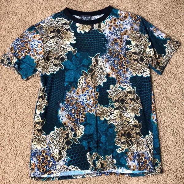 shirt green floral
