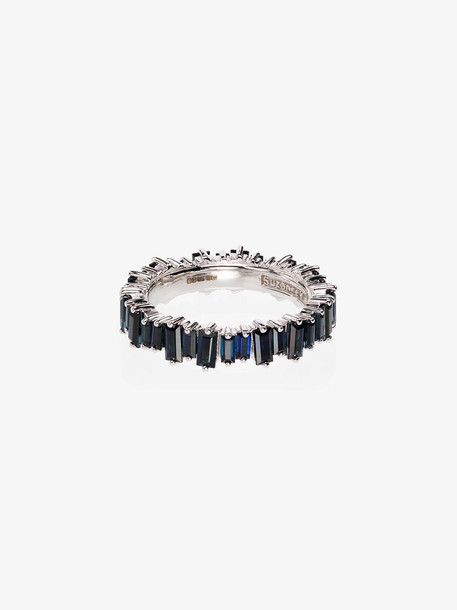 Suzanne Kalan 18K White Gold Blue Sapphire Eternity Ring