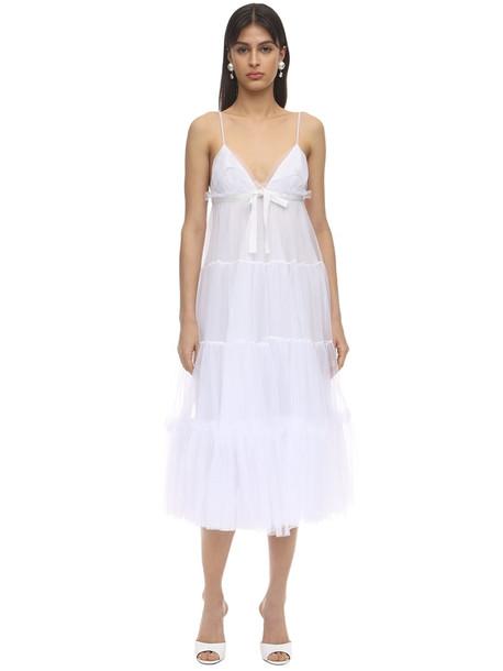 BROGNANO Tulle Midi Dress in white