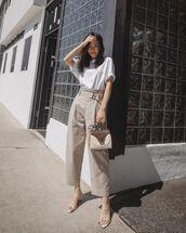 bag,handbag,tod's,white sandals,high waisted pants,crop tops,white top