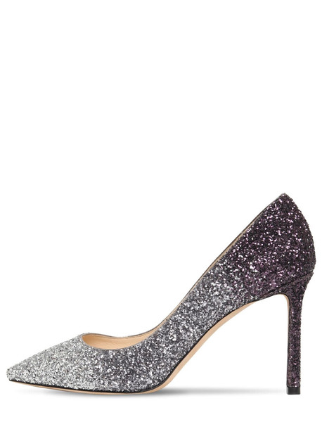 JIMMY CHOO 85mm Romy Degradé Glitter Pumps in silver