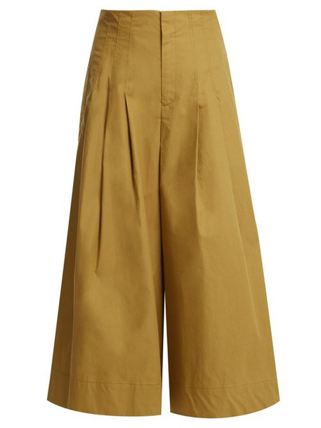 Sea - Windbreaker Cropped Wide Leg Cotton Blend Trousers - Womens - Beige
