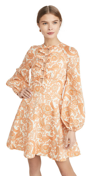 Zimmermann Peggy Scallop Short Dress in orange