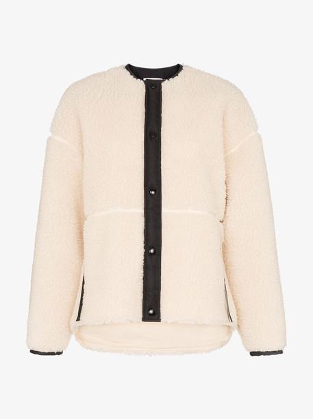 Hyke Faux Shearling Buttoned Jacket in white
