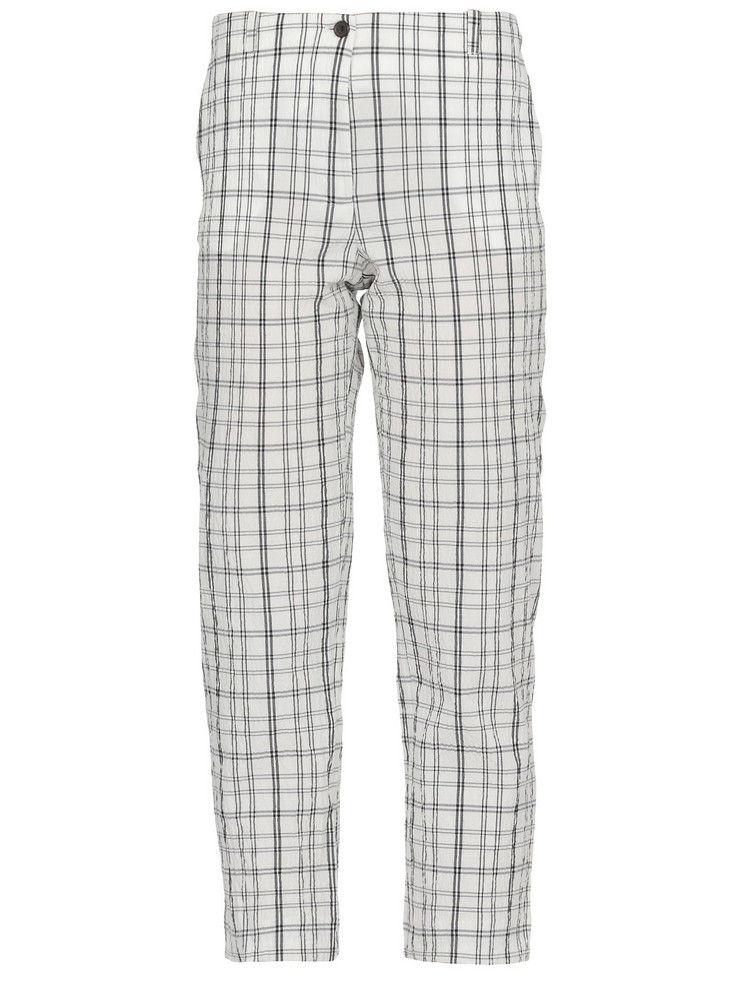 AALTO Check Patterned Trousers in white