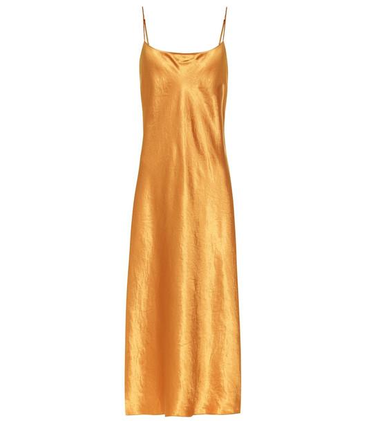 Vince Satin slip dress in orange