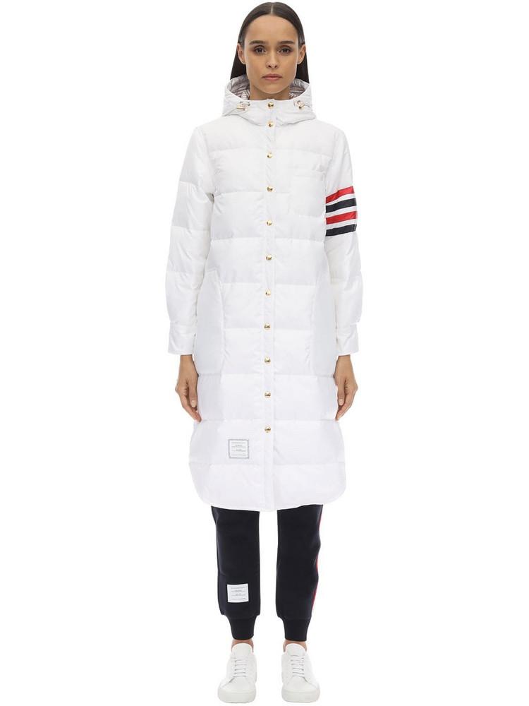 THOM BROWNE Hooded 4 Bar Down Coat in white