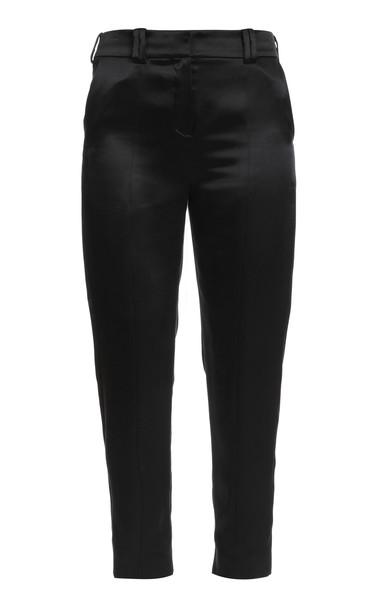 Balmain Tapered Silk Pants in black