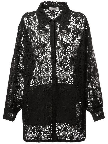 VALENTINO Cotton Macramé Jacket in black