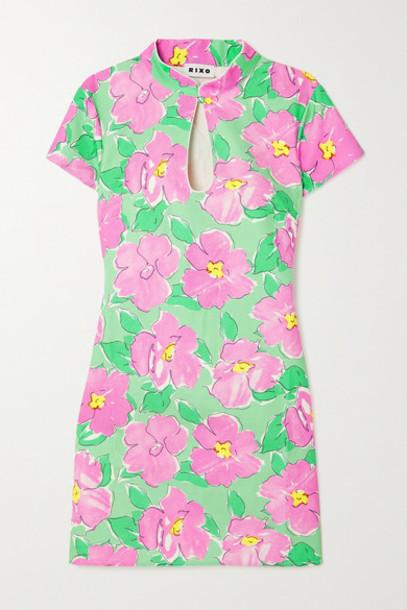 RIXO - Lolita Cutout Floral-print Cotton Mini Dress - Pink