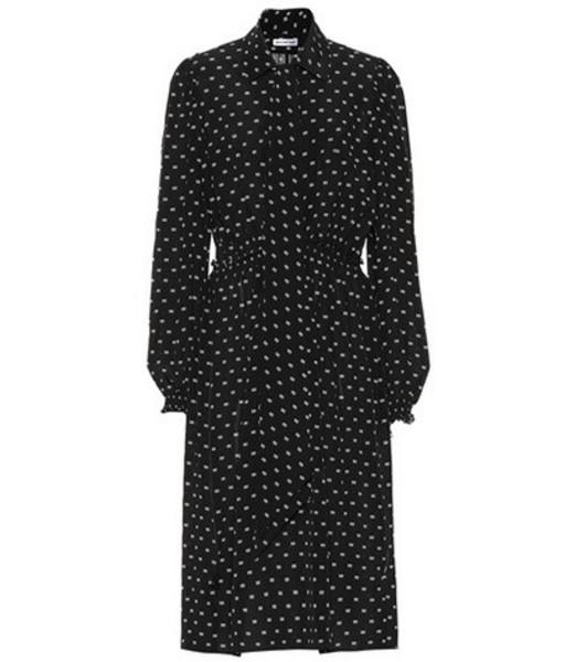 Balenciaga BB-printed silk dress in black