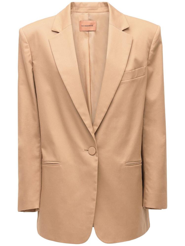 THE ANDAMANE Guia Gabardine Cotton Blazer in beige