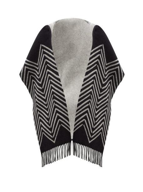 Valentino Garavani - Chevron-jacquard Wool-blend Hooded Scarf - Womens - Black White