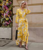 dress,yellow dress,maxi dress,long sleeve dress,floral dress,black bag