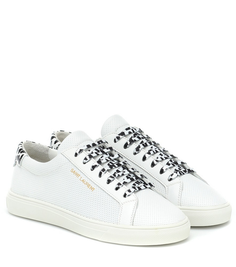 Saint Laurent Andy perforated leather sneakers in white