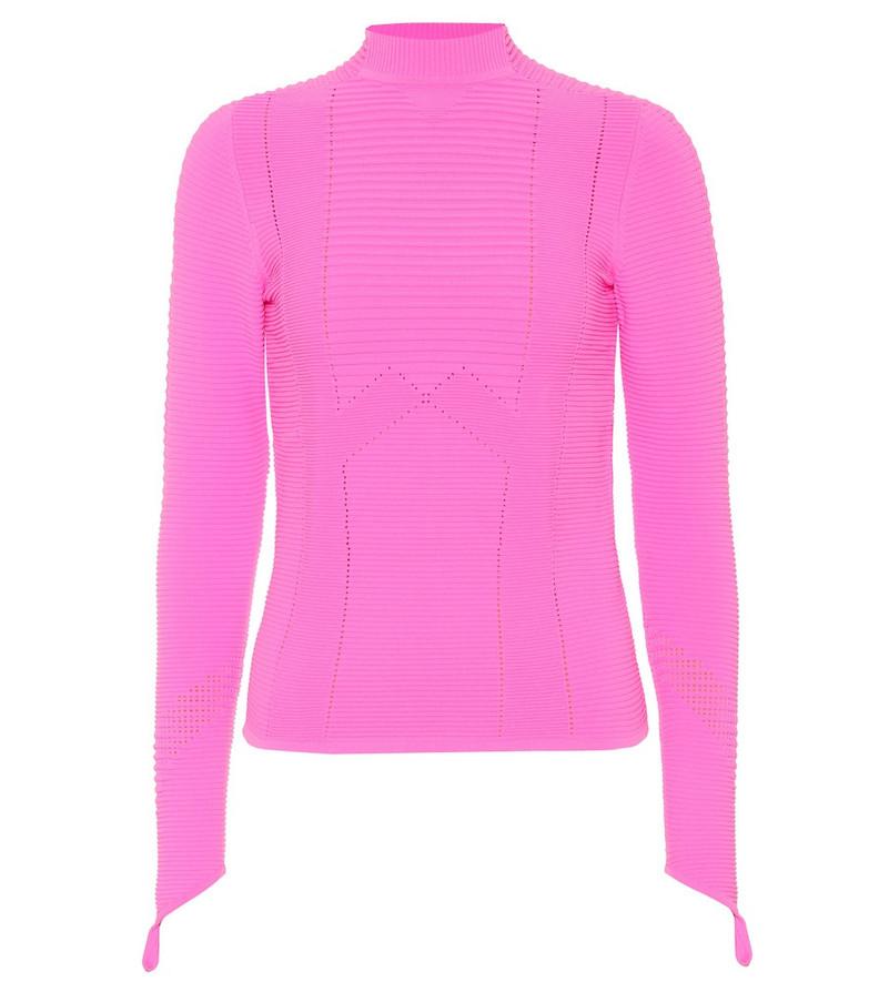 Adam Selman Sport Rib-knit top in pink
