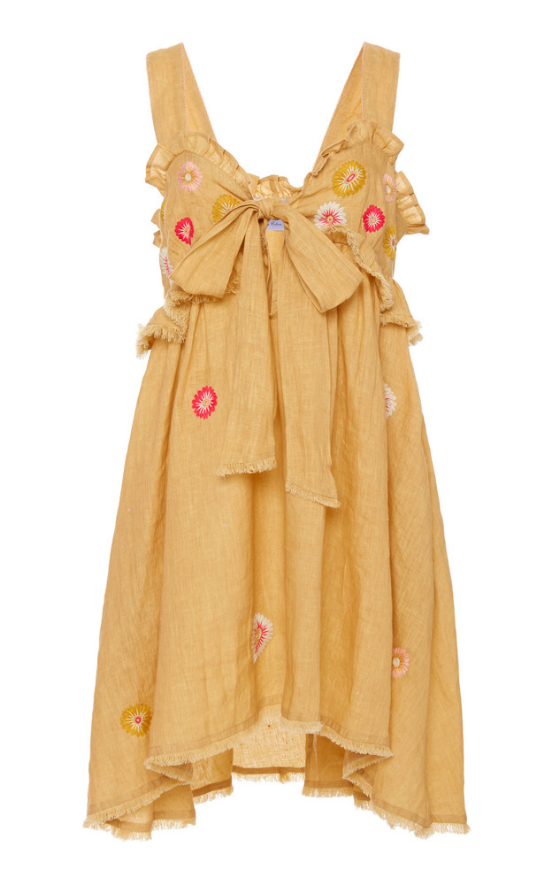 Thierry Colson Valentina Embroidered Linen Mini Dress Size: XS in yellow