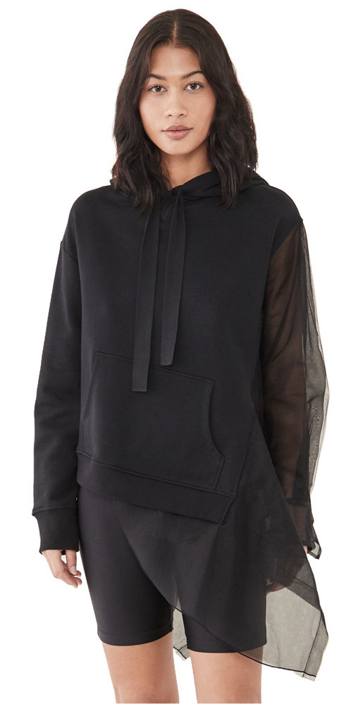 Monse Deconstructed Tulle Hoodie in black