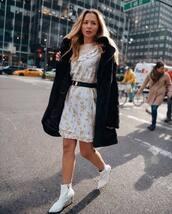 dress,mini dress,long sleeve dress,floral dress,black coat,faux fur coat,white boots,ankle boots,heel boots,black belt