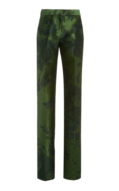 Carolina Herrera High-Rise Jacquard Straight-Leg Pants in green