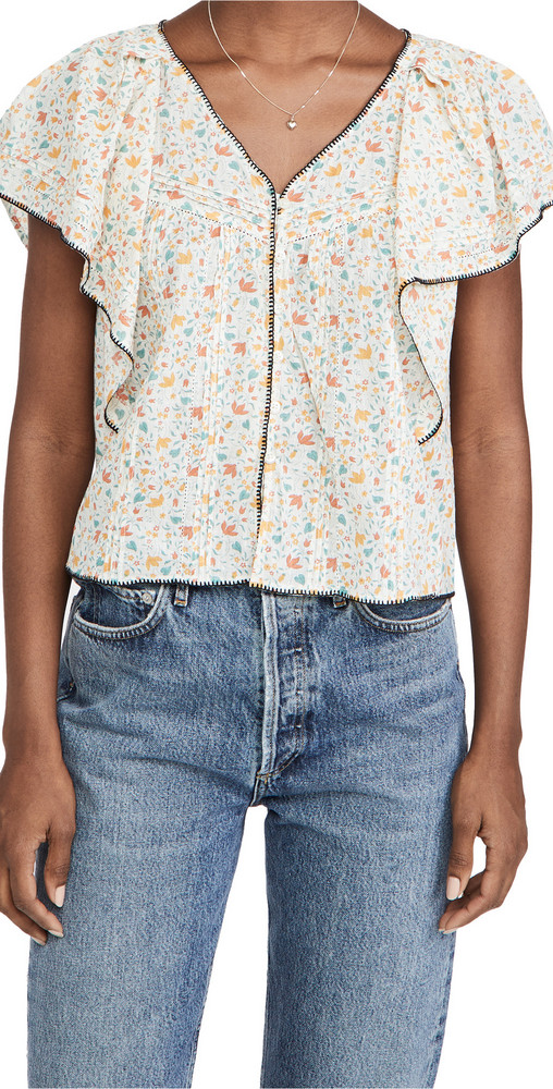THE GREAT. THE GREAT. The Whip Stitched Flounce Top