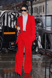 pants,blazer,suit,victoria beckham,celebrity,red,top,fall outfits