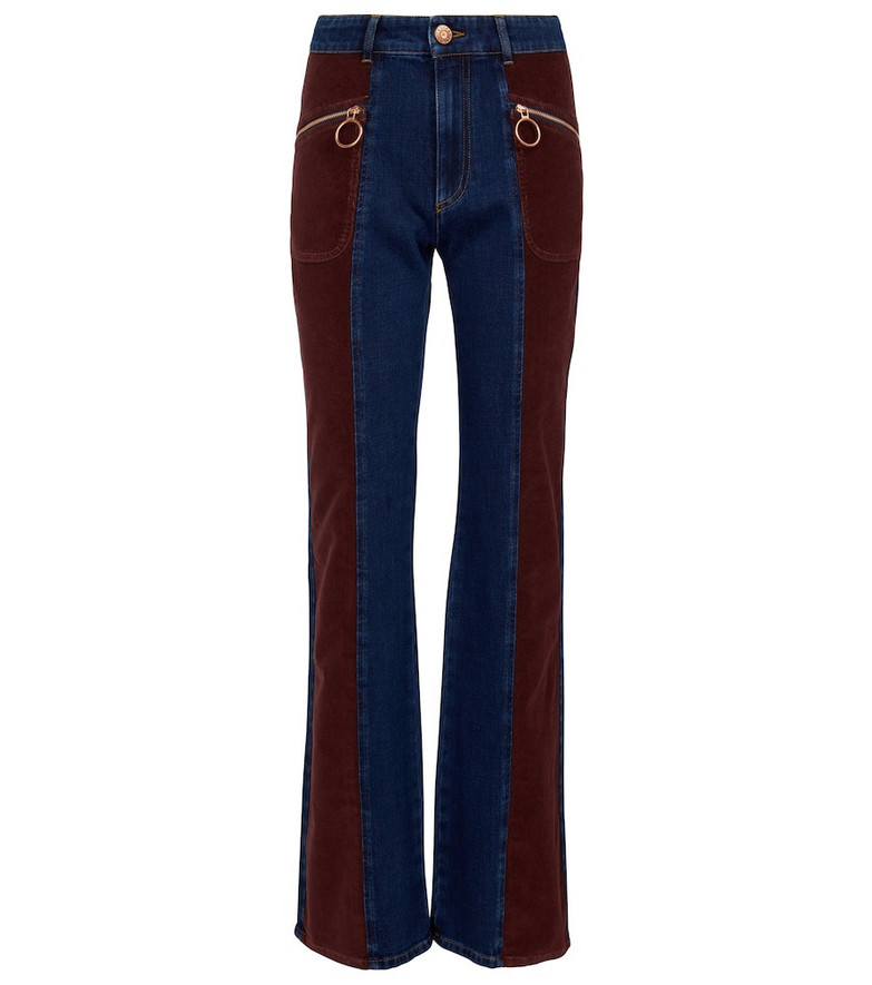 See By Chloé Corduroy-paneled high-rise jeans in red