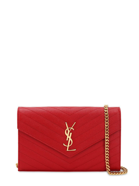 SAINT LAURENT Medium Quilted Monogram Leather Bag in red