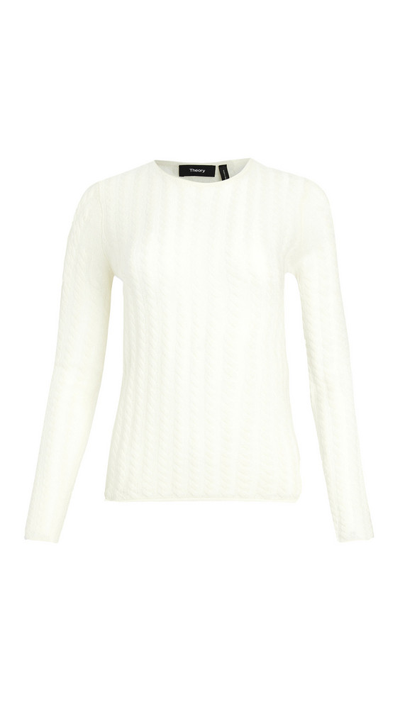 Theory Cashmere Tiny Cable Pullover in ivory