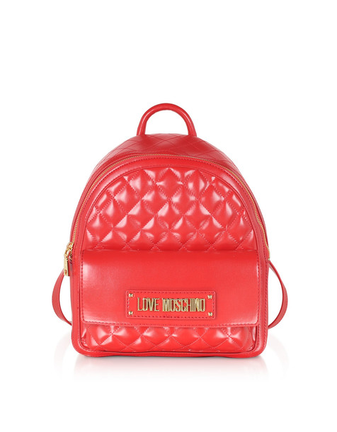 Love Moschino Quilted Eco-leather Backpack in red
