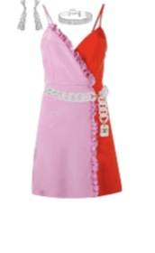 dress,red,red and pink,red dress,pink dress,pink,cocktail dress,short dress,mini dress,rose,two colour