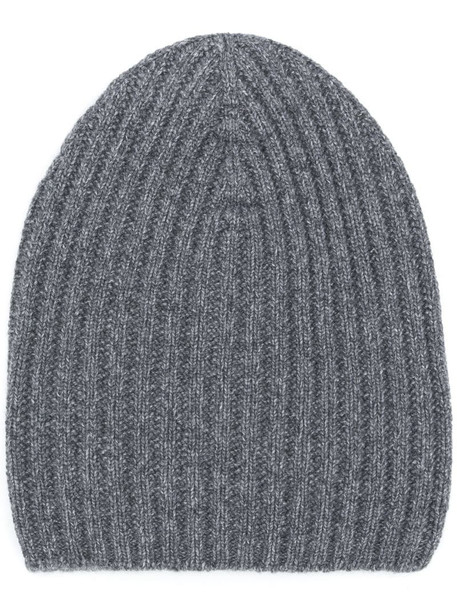 Barrie ribbed-knit cashmere beanie in grey