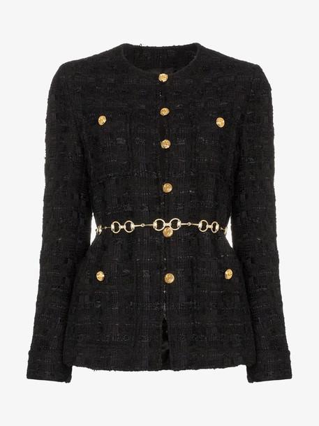 Gucci tweed jacket with horsebit belt in black